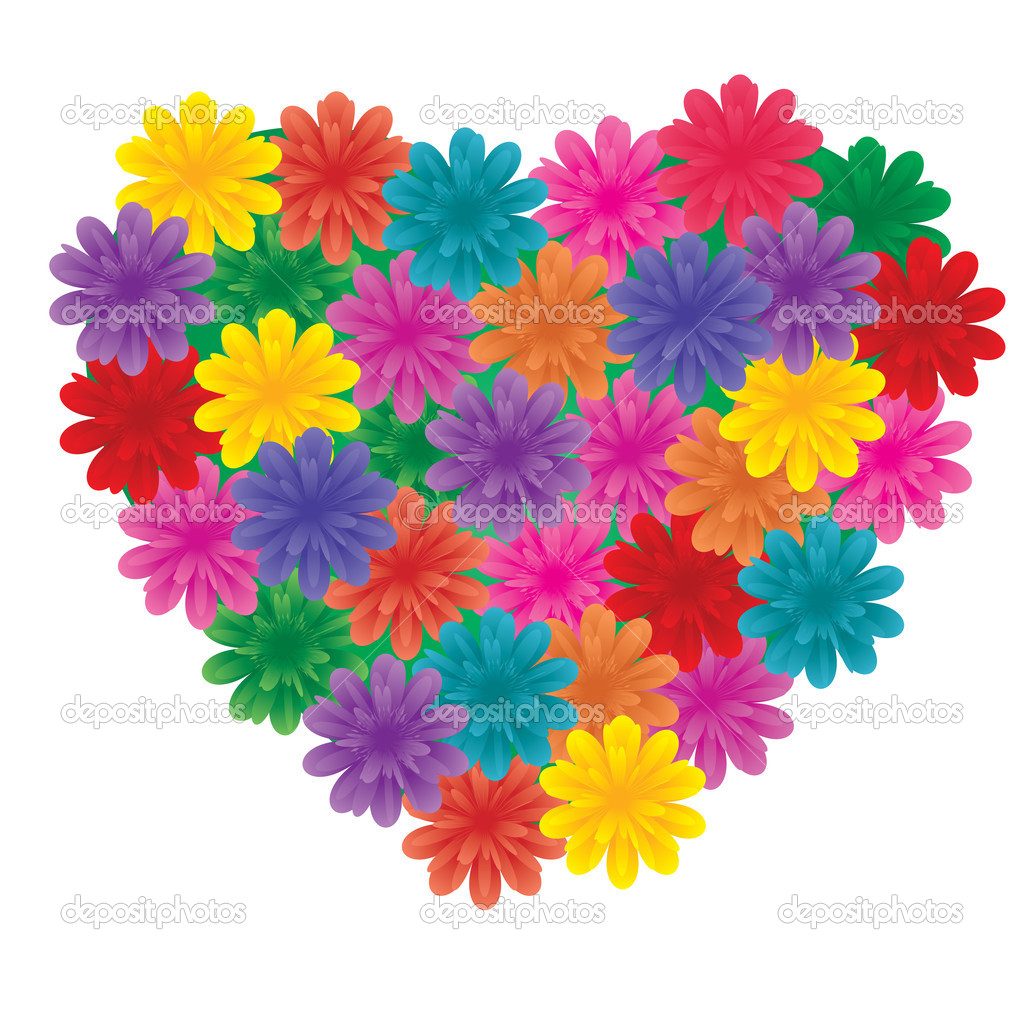 big flowers on heart u2014 stock vector marketolya 1470936