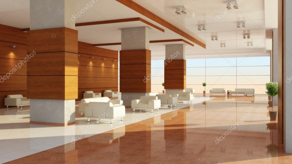 Modern design of an interior of a hall