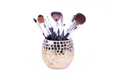 Professional brushes in mirror can
