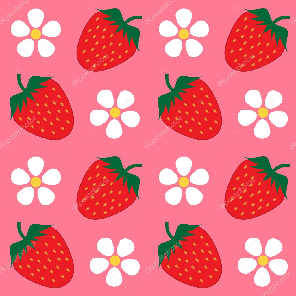 Strawberry Wallpaper Background Stock Vector