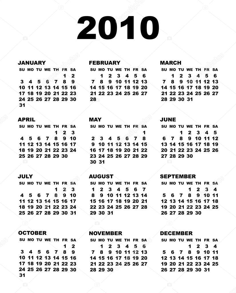 Free printable 2010 calendar.
