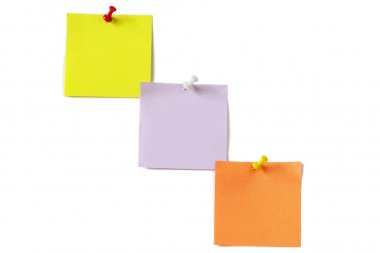 Three colored notes with push-pins