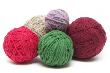 Five colored wool clews