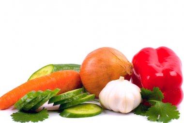 Fresh vegetables closeup on white background stock vector