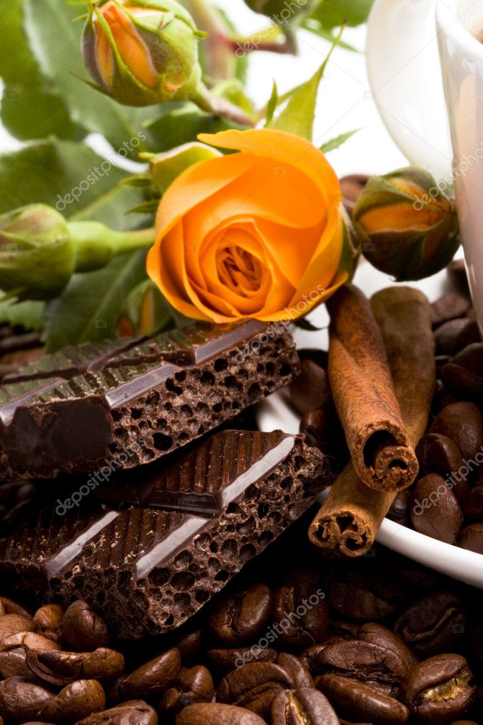 Chocolate, coffee, cinnamon and flower