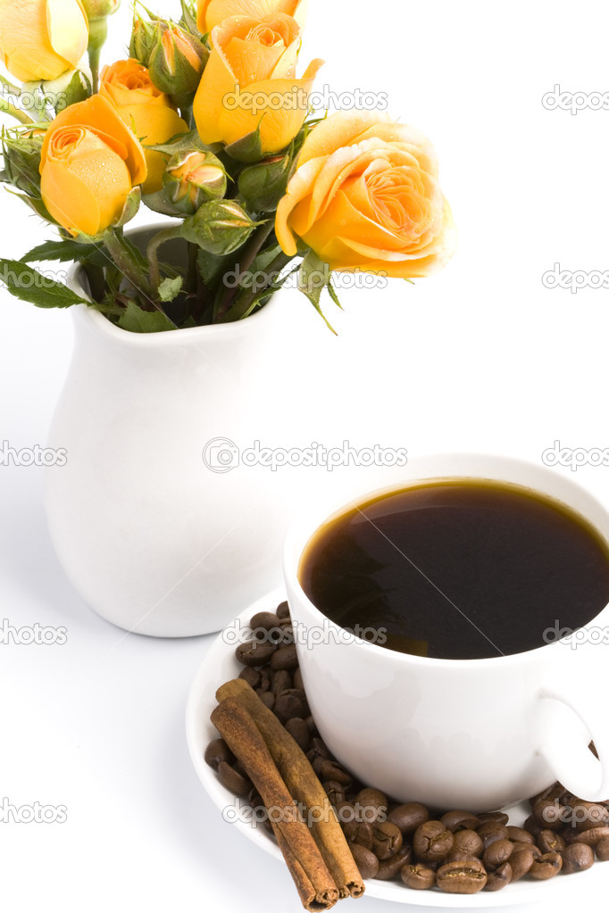 Bouquet and cup of coffee