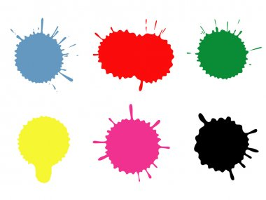 Set of blots and stains. Stains and blots are made by ink on a paper, photographed, processed in Photoshop, exported in Illustrator. Software Used: Adobe Illust clip art vector