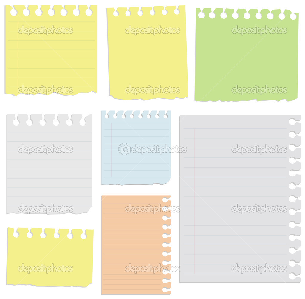 Set of notepad sheets.