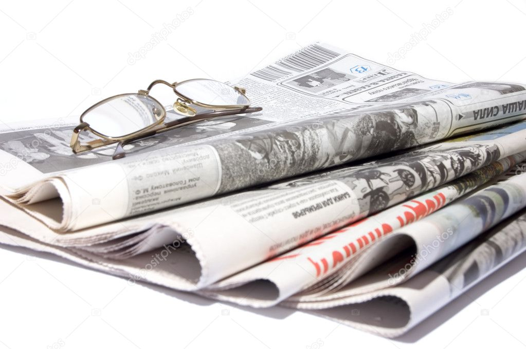 Newspapers, points on a white background.