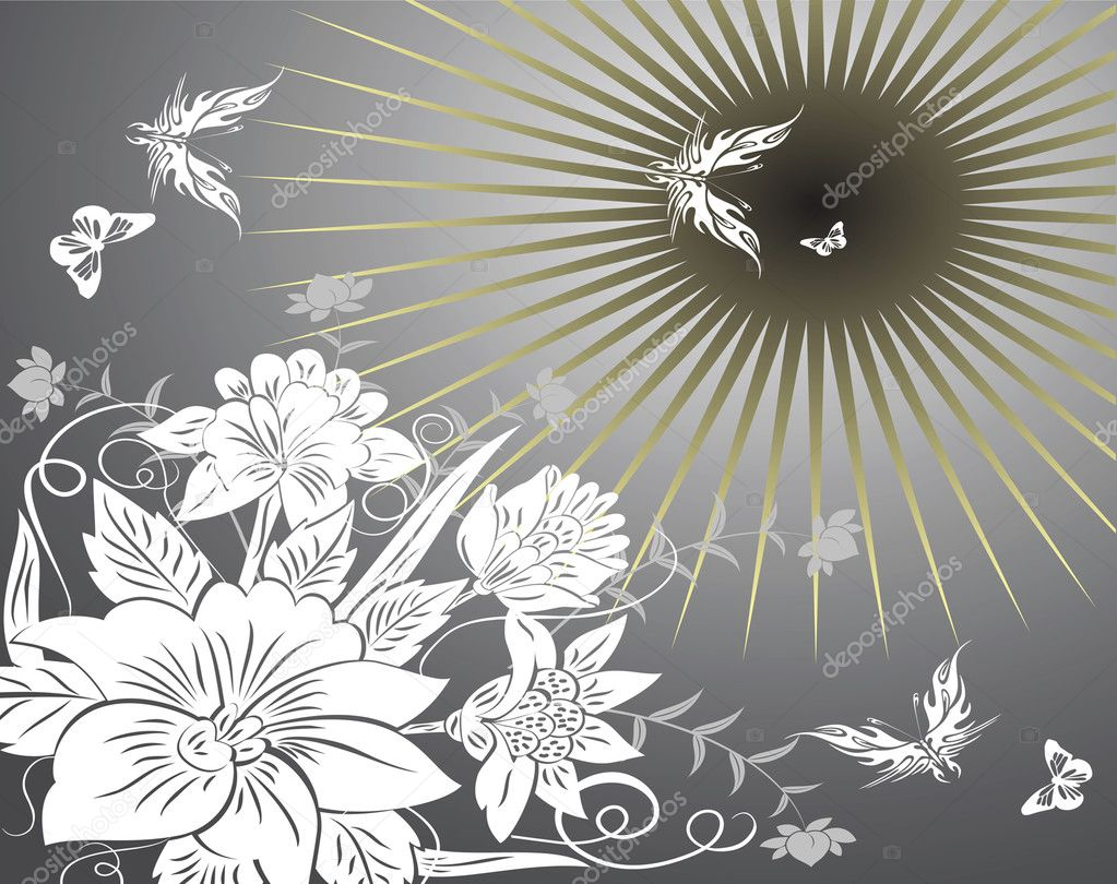 Flowers and butterflies. Vector illustra