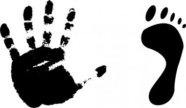 Black prints of a foot and hand.Vector i