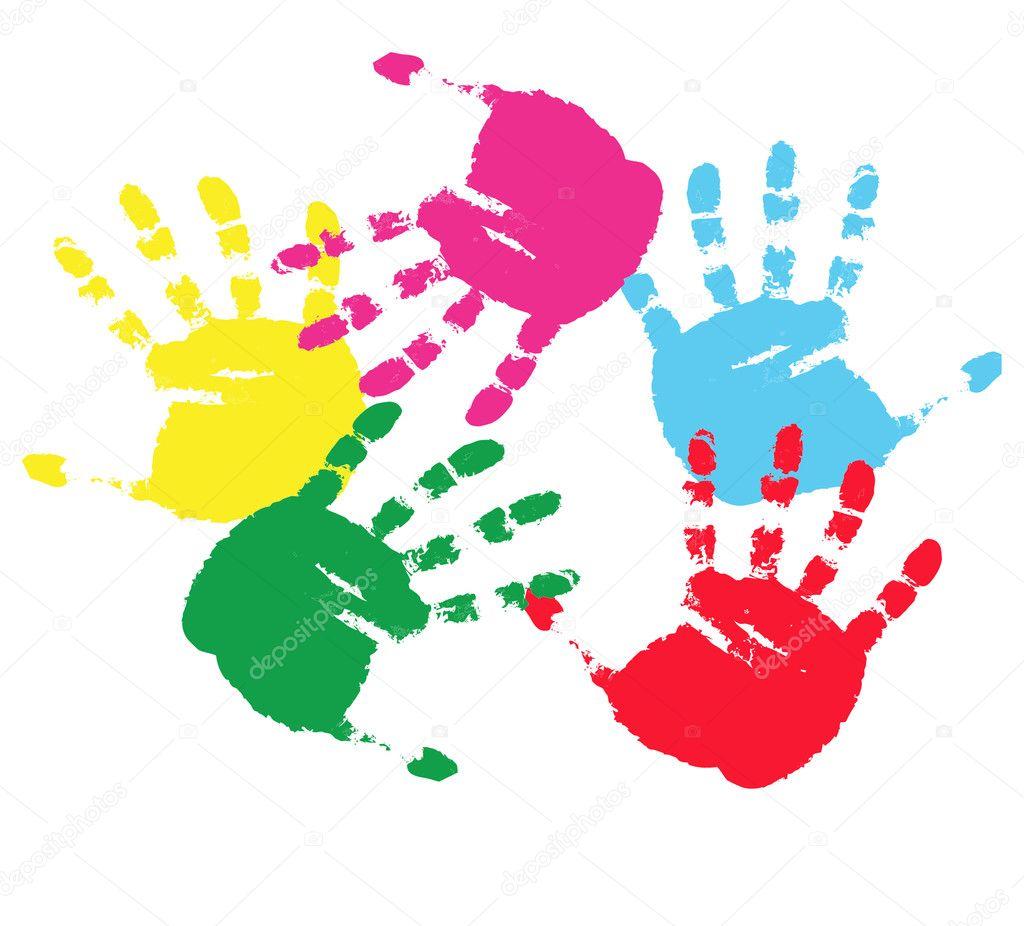 Colour prints of hands.Vector illustrati