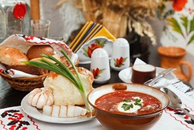 Ukrainian borsch, red-beet soup