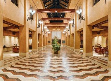 Huge hall interior in golden colors