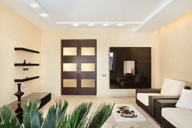 Modern Drawing-room interior in warm tones stock vector