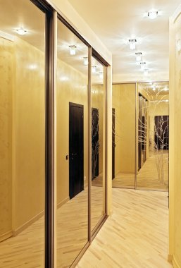 Passage with a mirror wardrobe in warm