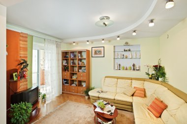 Drawing-room Interior with beige sofa