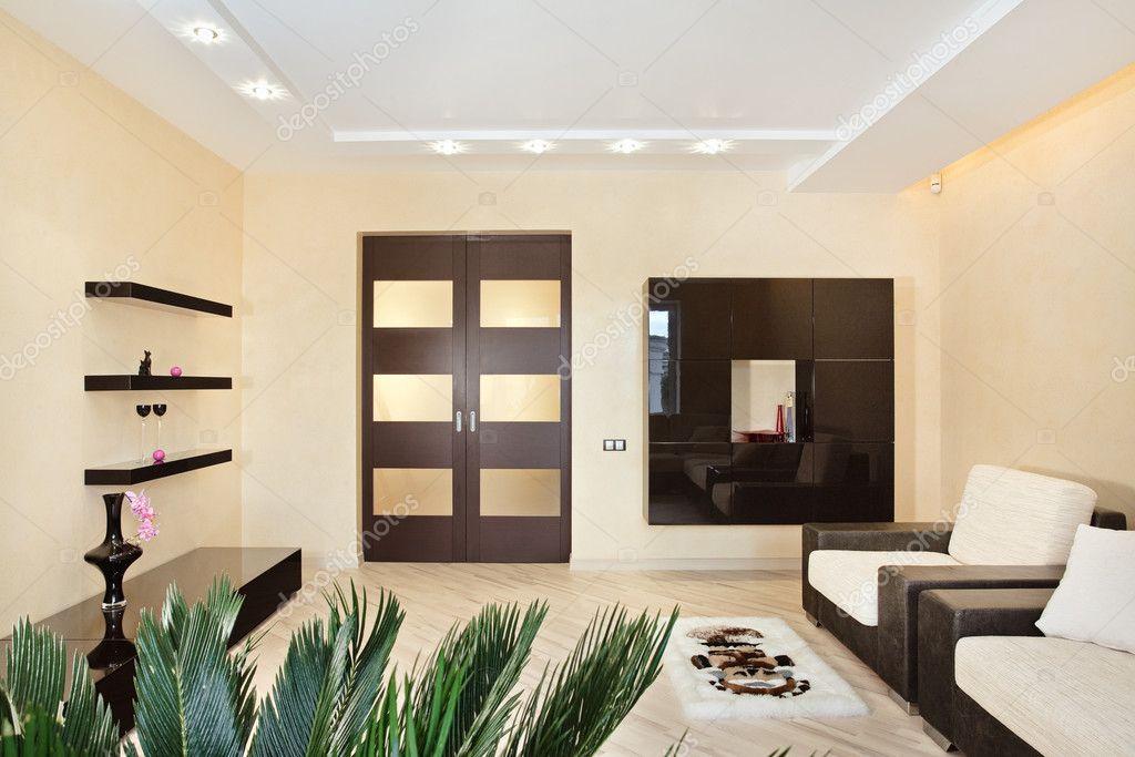 Moderne Wohnzimmer Interieur In Warmen Tönen U2014 Foto Von MrHamster