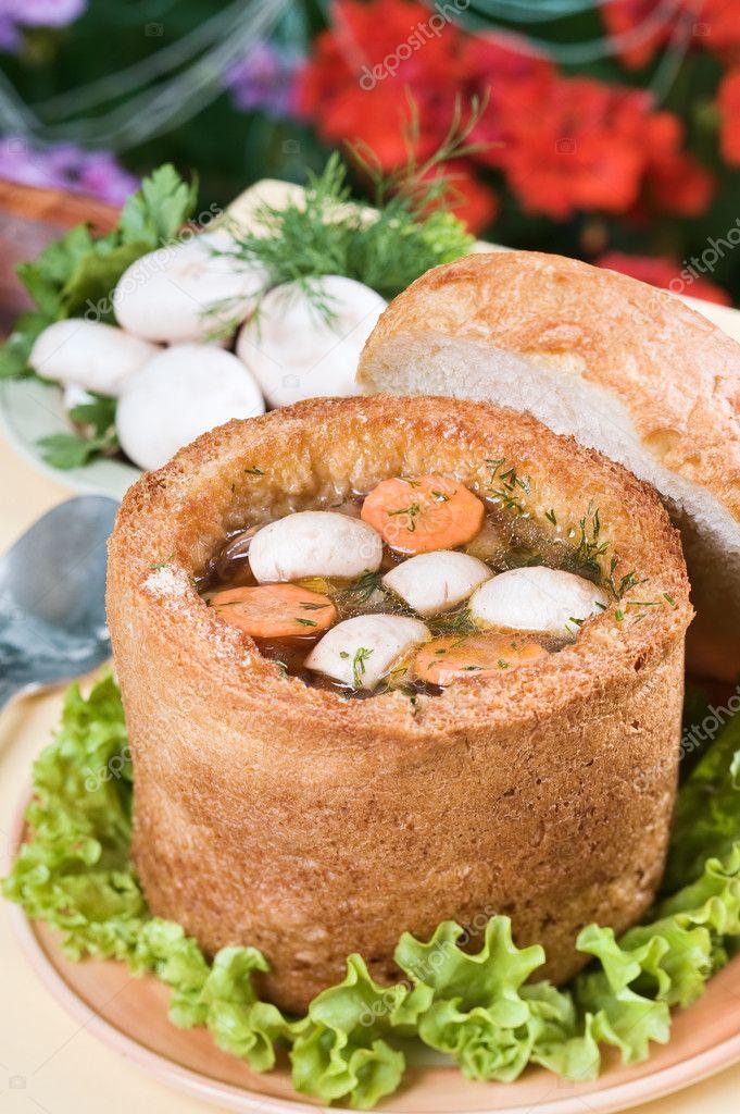Mushroom soup in bread bowl