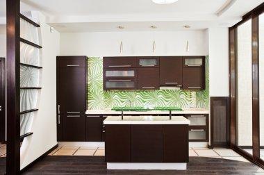 Modern kitchen with dark wooden floor