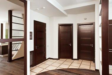 Modern hall interior with many doors