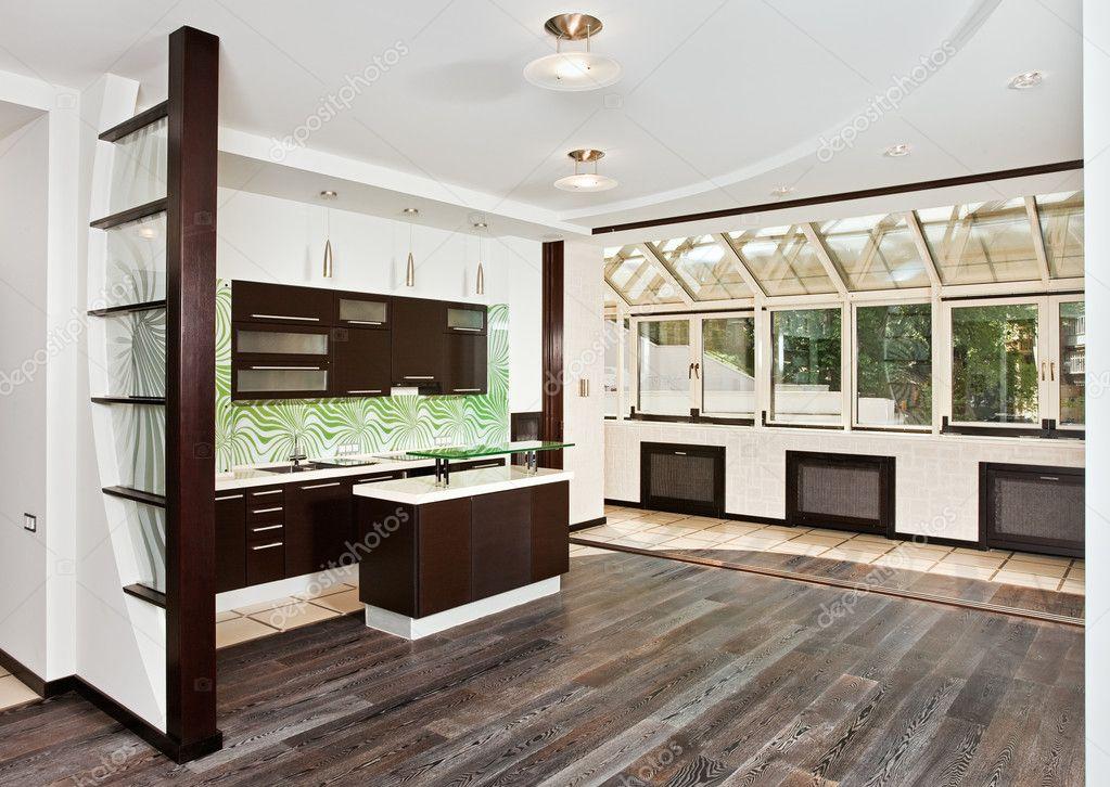 Interieur wohnzimmer  Wohnzimmer und Küche-Interieur — Stockfoto #1907627