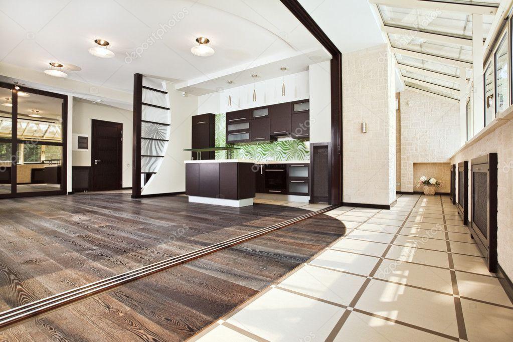Moderne küche und balkon interieur u stockfoto mrhamster