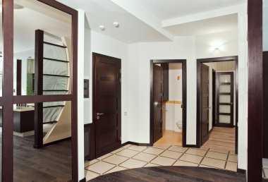 Modern hall with many hardwood doors