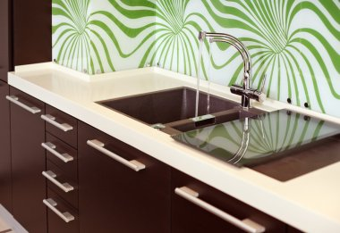 Part of modern Kitchen with Sink