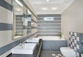moderní koupelna v modré a šedé