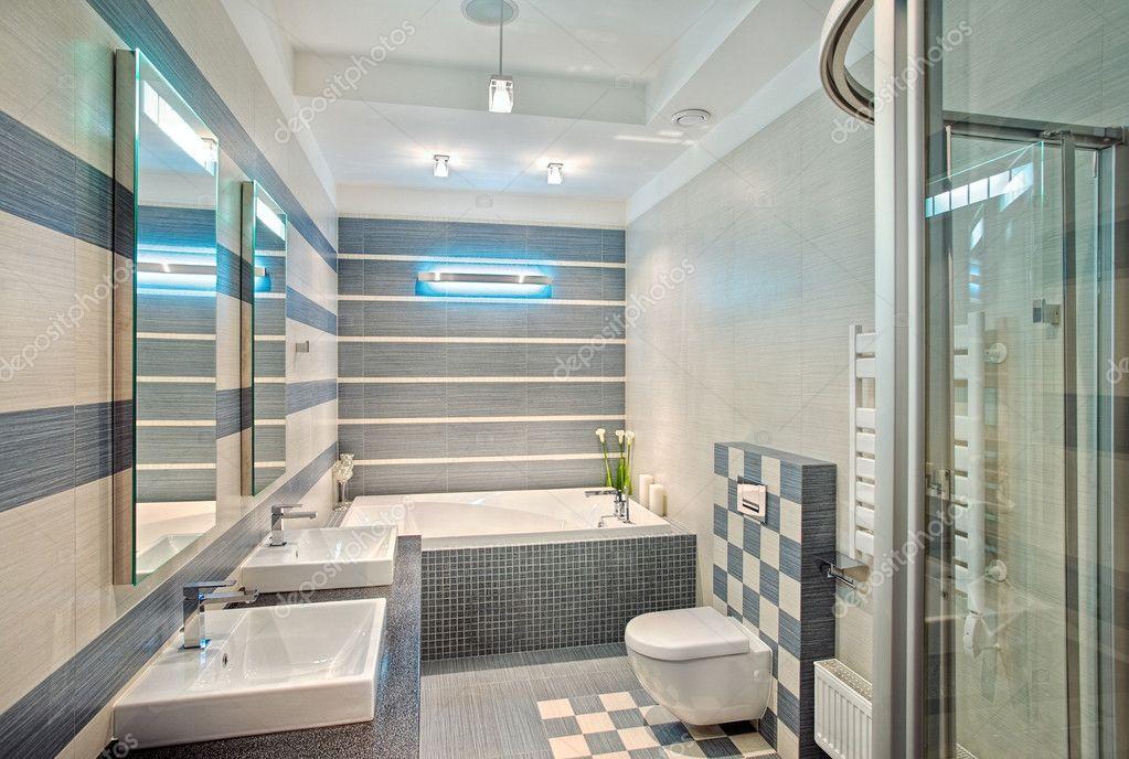 bagno moderno in blu e grigio ? foto stock © mrhamster #2189863 - Foto Bagni Moderni Con Mosaico