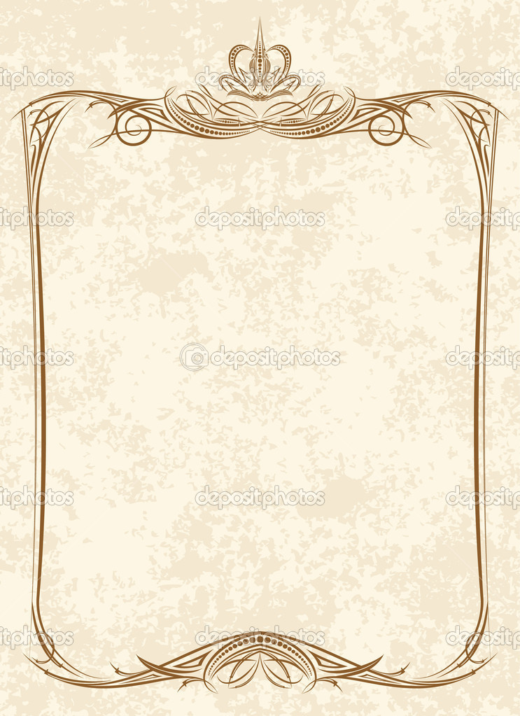 vintage frame with crown vector by antonshpak