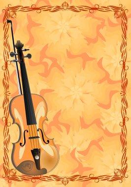 Viola on floral background