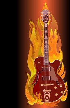 Fire electric guitar.Vector.