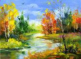 podzimní krajina s řekou dřevo