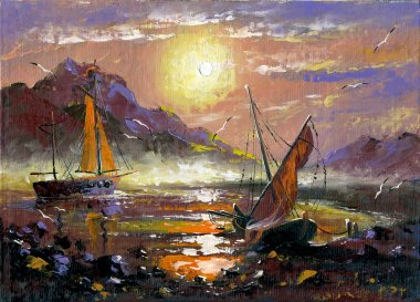 Sea landscape with sailing vessels