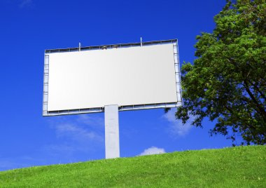 Empty billboard against a beautiful land