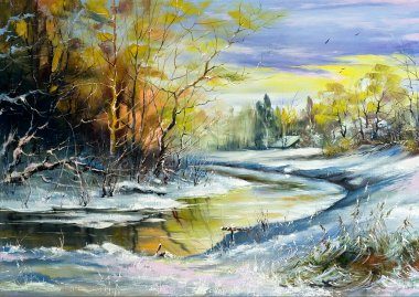 """Картина, постер, плакат, фотообои """"лесная река на закате картина пейзаж живопись все"""", артикул 1193676"""