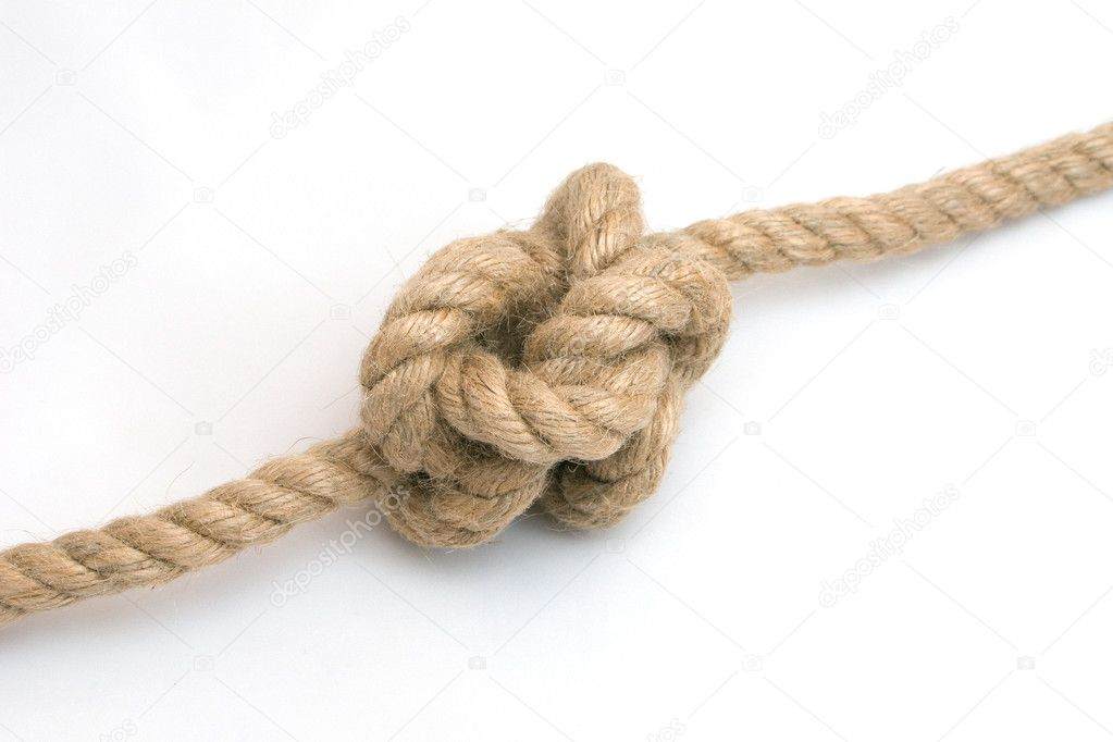 Tied up rope knot isolated on a white