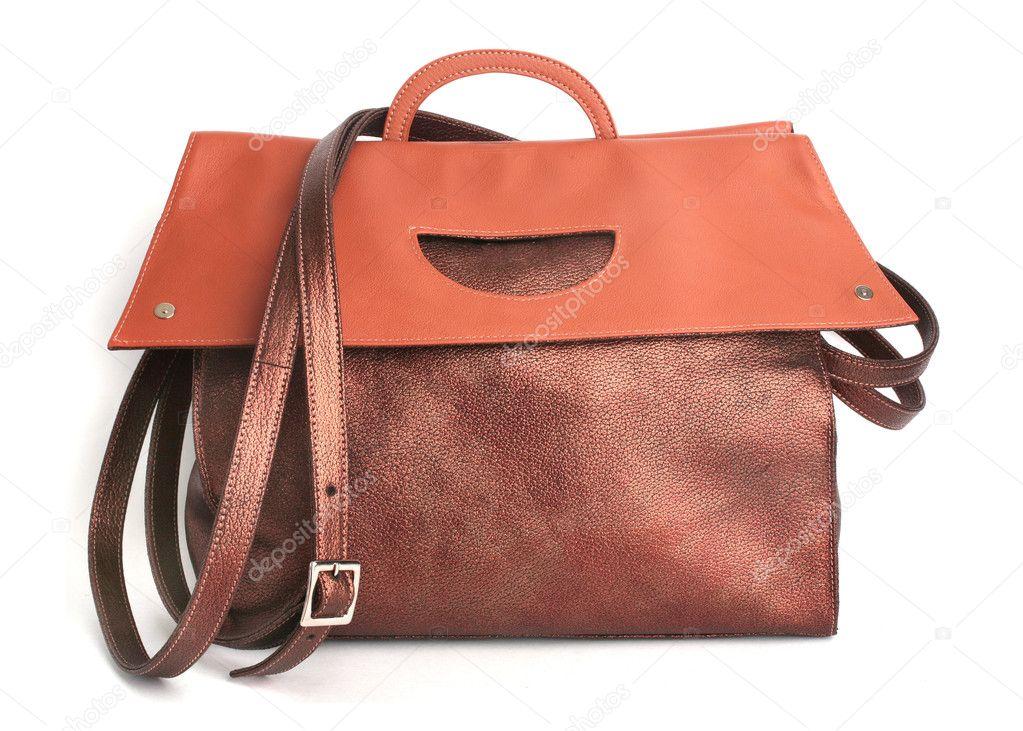 ede7f0fa31e69 luksusowe skórzane lekkie brązowe torebka — Zdjęcie stockowe ...