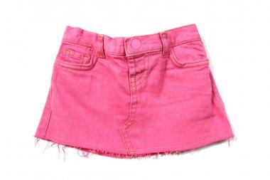 Pink mini jeans skirt