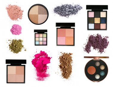 Big set of color eyeshadows and blush palettes and samples isolated on white stock vector