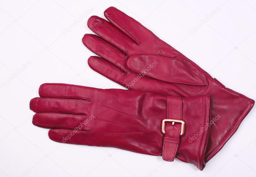 Fialové kožené rukavice izolované na bílém — Fotografie od ... 19a5a8c8d5