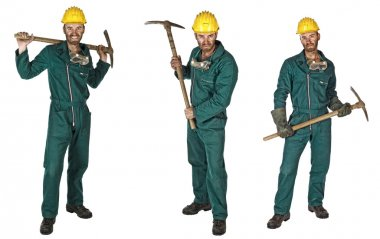 Miner isolated on white collection