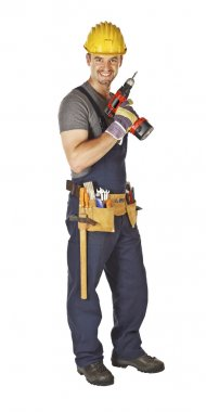 Manual worker with tool
