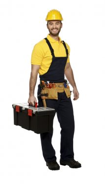 Man at work with toolbox