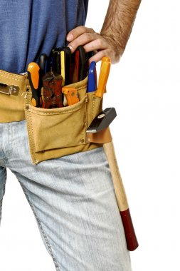 Detail of toolbelt on handyman