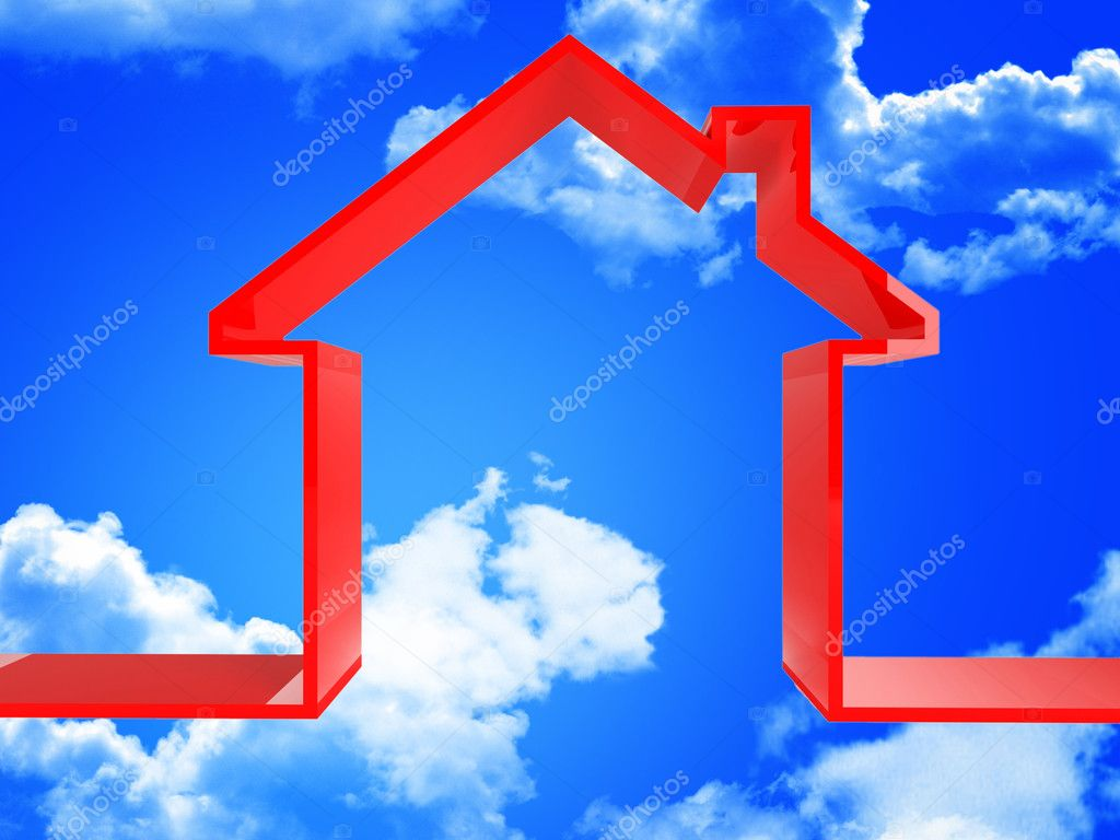 3d red house metaphor image in the blue sky