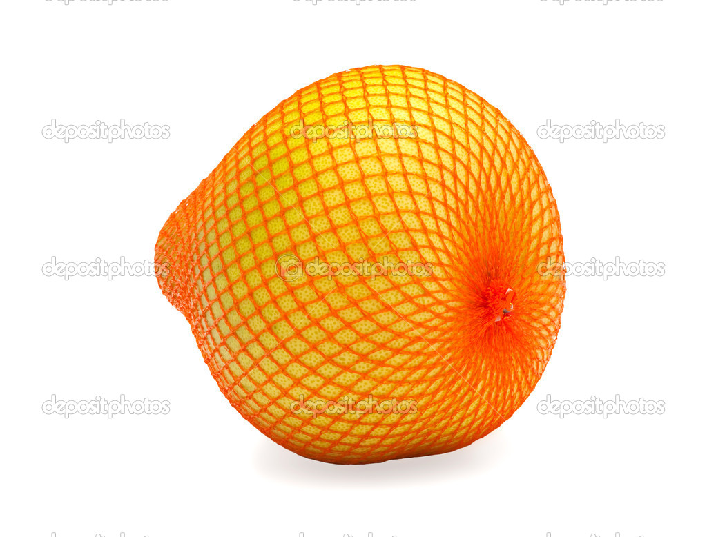Ripe fruit of pomelo in bag, isolated