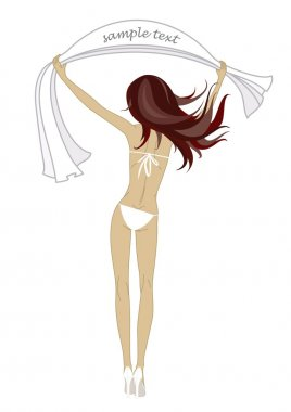 Vector girl with towel in white